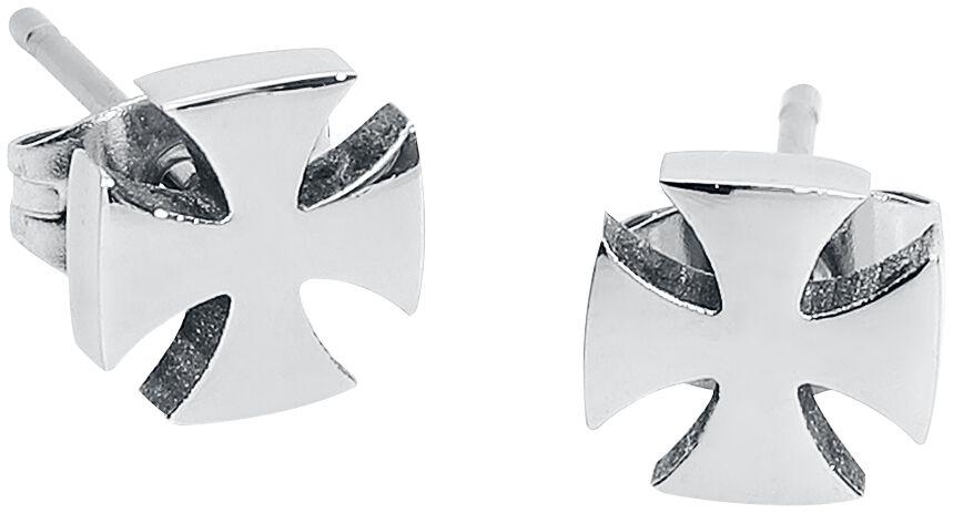 Ohrringe für Frauen - Eisernes Kreuz Ohrstecker Set silberfarben  - Onlineshop EMP