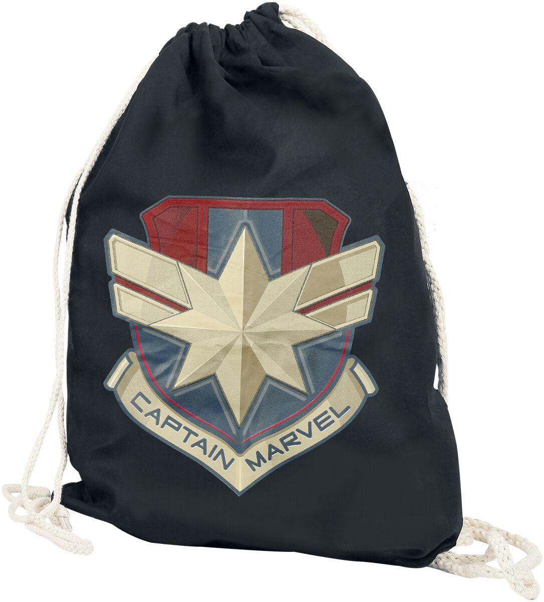 Sporttaschen für Frauen - Captain Marvel Logo Turnbeutel schwarz  - Onlineshop EMP