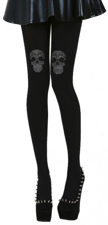 Strumpfhosen für Frauen - Pamela Mann Diamante Skull On Knee Tights Strumpfhose schwarz  - Onlineshop EMP