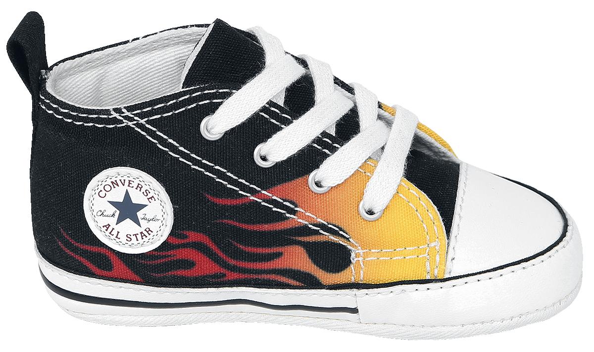 Image of Converse Chuck Taylor First Star - Fire Baby Schuhe schwarz/gelb/rot