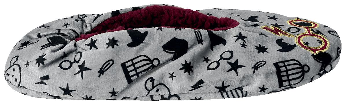 Image of Harry Potter Chibi Symbols Hausschuhe grau/bordeaux