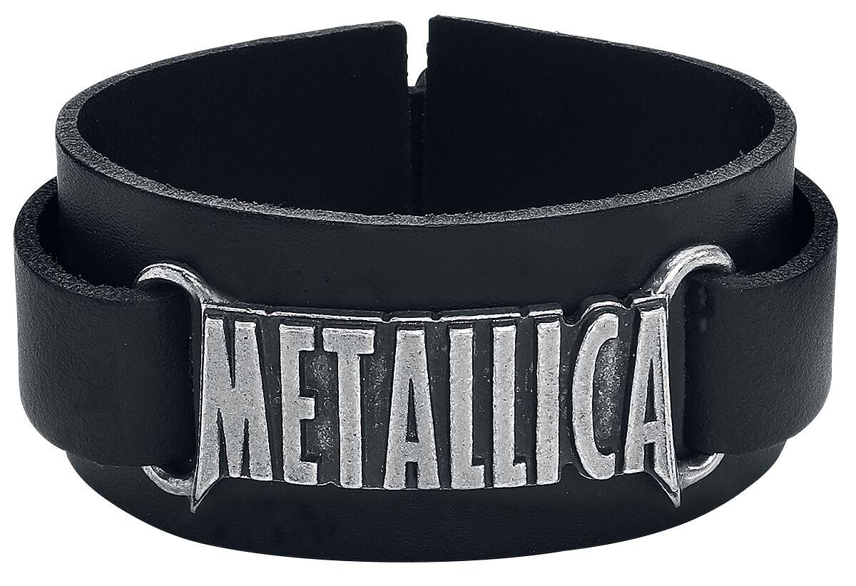 Metallica Logo Lederarmband schwarz