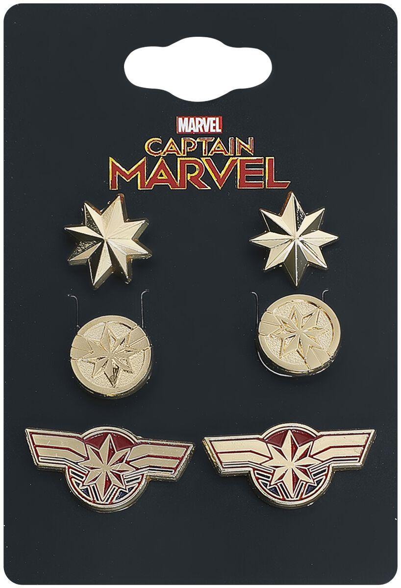 Ohrringe für Frauen - Captain Marvel Logo Ohrstecker Set goldfarben  - Onlineshop EMP