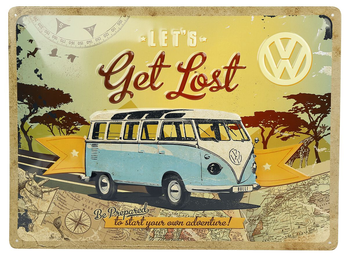 Let´s Get Lost Blechschild Mehrfarbig