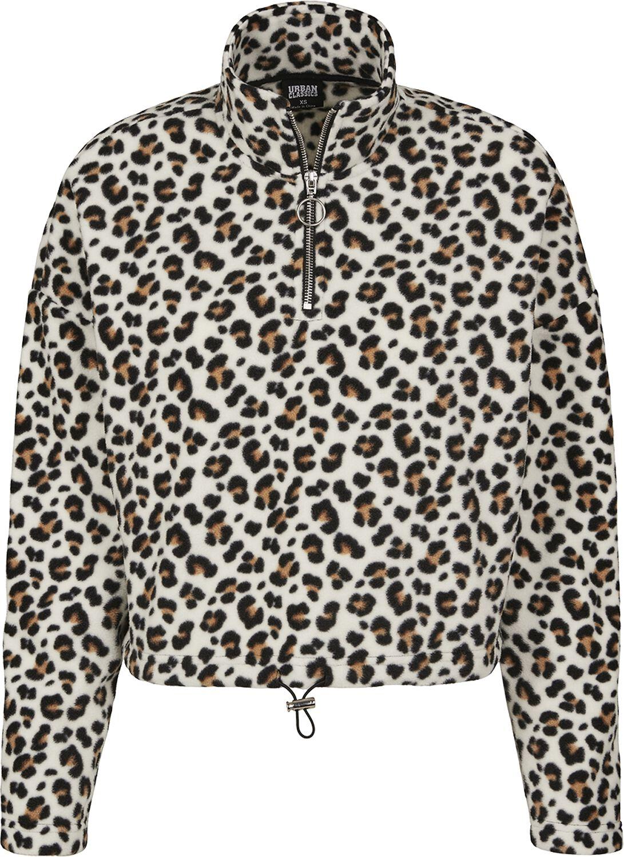 Jacken für Frauen - Urban Classics Ladies Leo Polar Fleece Troyer Übergangsjacke schwarz braun beige  - Onlineshop EMP