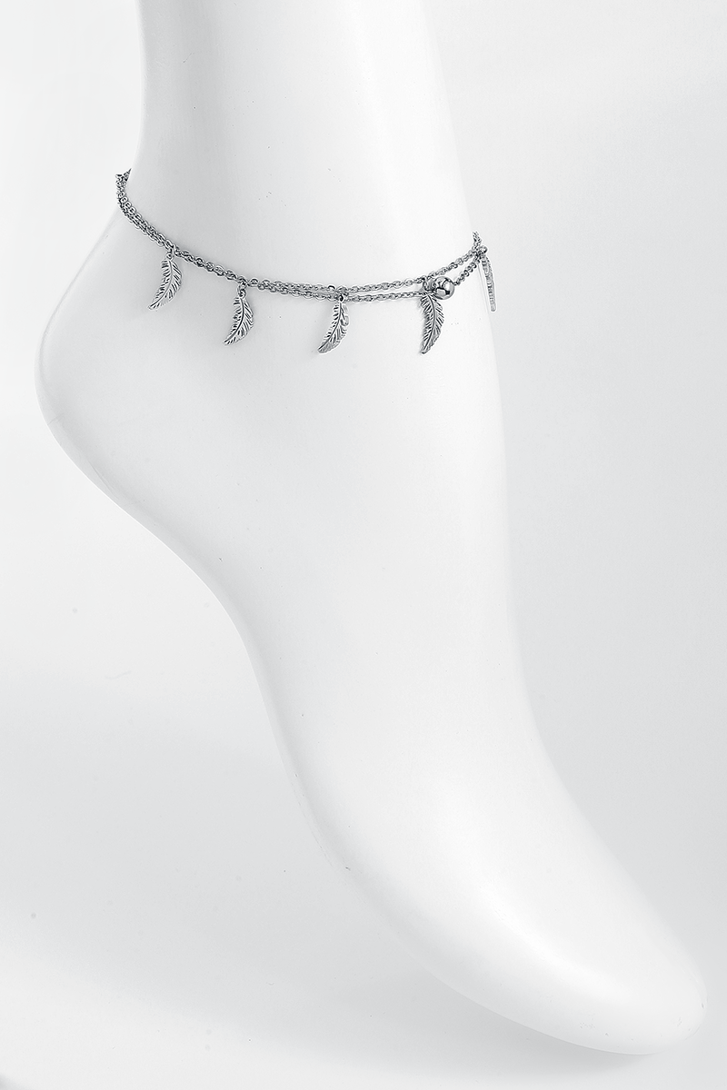 Image of Wildcat Feathers Multilayer Ankle Chain Fusskette silberfarben