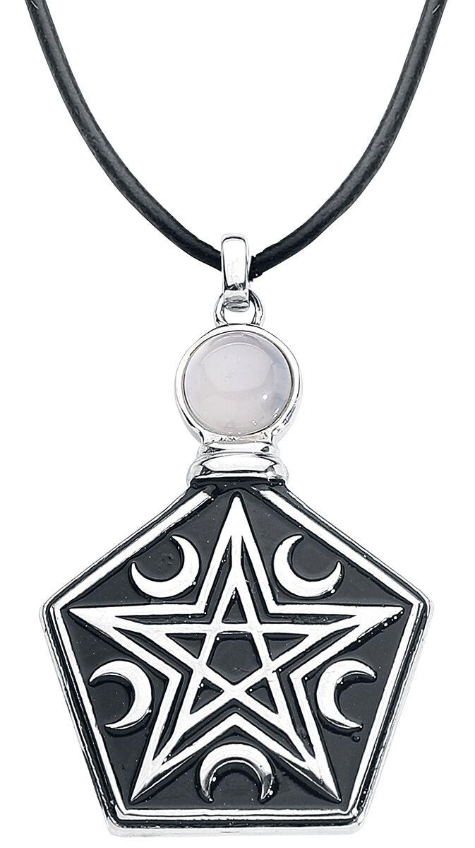 Ketten für Frauen - Mysterium® Tearbottle Pentagram Necklace Halskette schwarz silber  - Onlineshop EMP