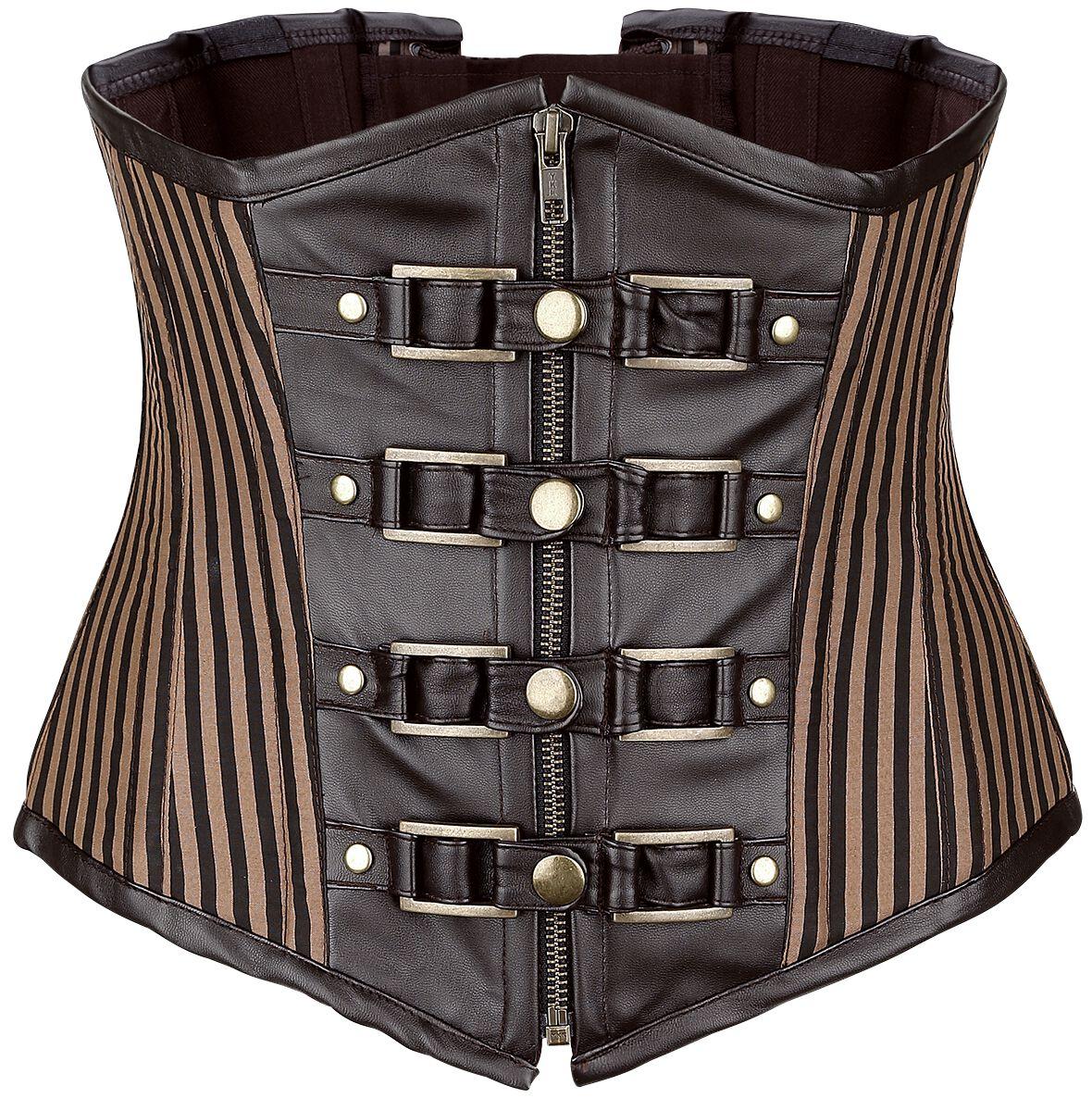 Waesche für Frauen - Burleska Brown Stripe Korsage braun  - Onlineshop EMP