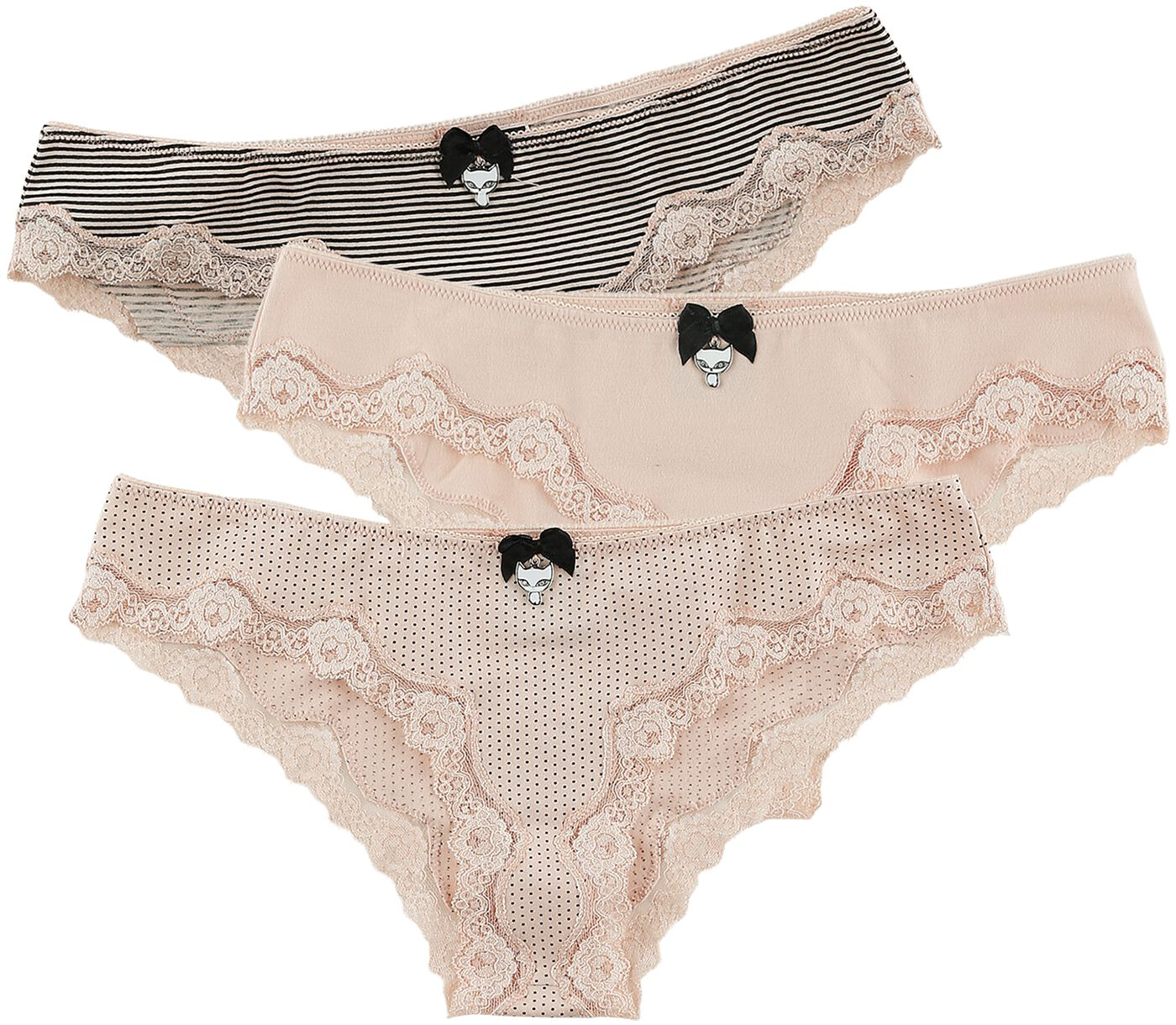 Waesche für Frauen - Pussy Deluxe 3er Set Panties Panty Set rosa schwarz  - Onlineshop EMP