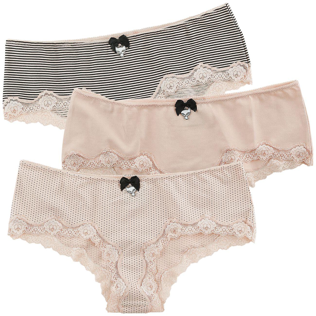 Waesche für Frauen - Pussy Deluxe 3er Set Hipster Pants Panty Set rosa schwarz  - Onlineshop EMP
