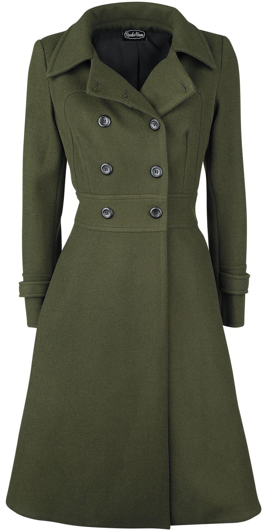 Jacken für Frauen - Voodoo Vixen Martha 40s Longline Coat Mantel khaki  - Onlineshop EMP