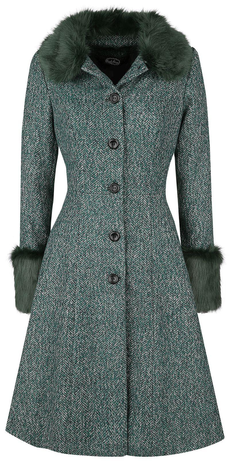 Jacken für Frauen - Voodoo Vixen Erin Herringbone Coat Mantel dunkelgrün  - Onlineshop EMP