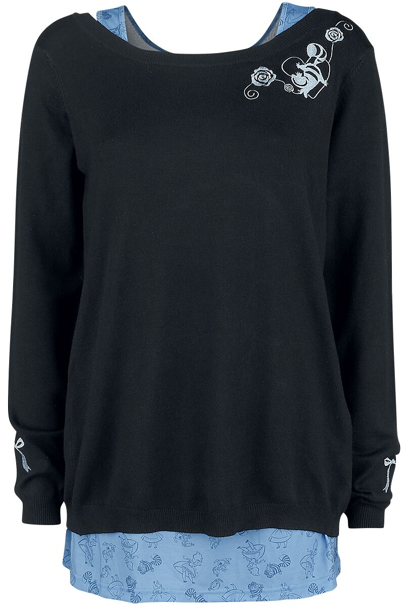 Image of Alice in Wonderland We're All Mad Here Pullover donna nero