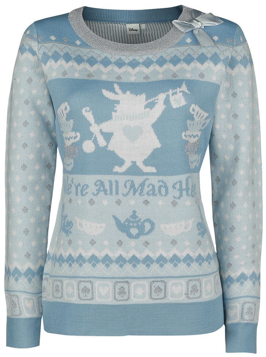 Image of Alice in Wonderland We're All Mad Here Pullover donna azzurro