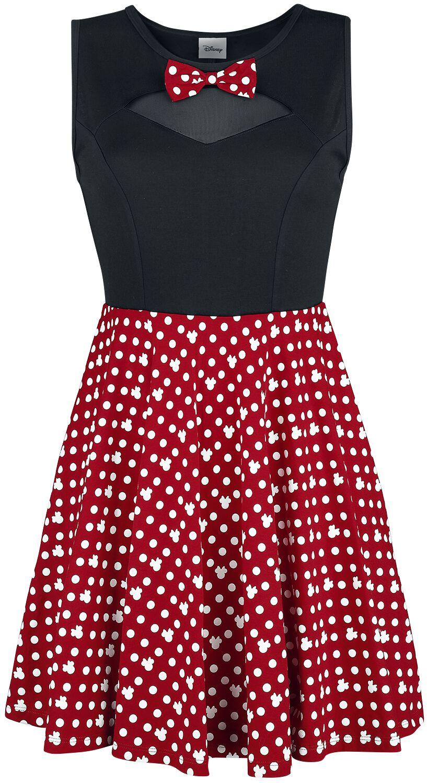 Kleider - Micky Maus Minni Maus Bows Kurzes Kleid schwarz rot  - Onlineshop EMP