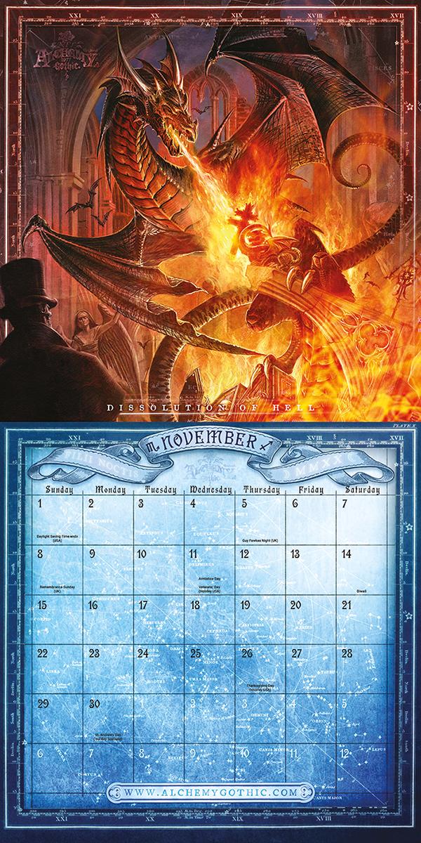 Image of Alchemy Gothic 2020 Wandkalender Mehrfarbig