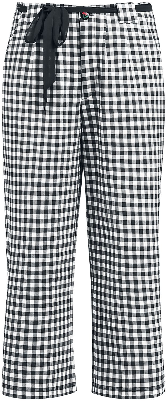 Hosen - Pussy Deluxe Plaid Cherries Culottes Pants Stoffhose weiß schwarz  - Onlineshop EMP