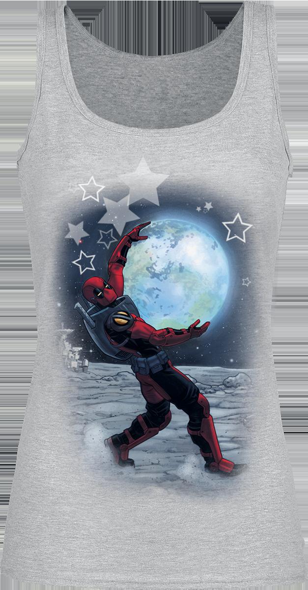 Deadpool - Moon - Girls Top - mottled grey image