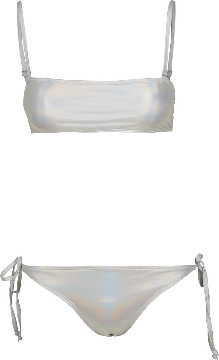 Bademode - Urban Classics Ladies Shimmering Bandeau Swimsuit Bikini Set silberfarben  - Onlineshop EMP