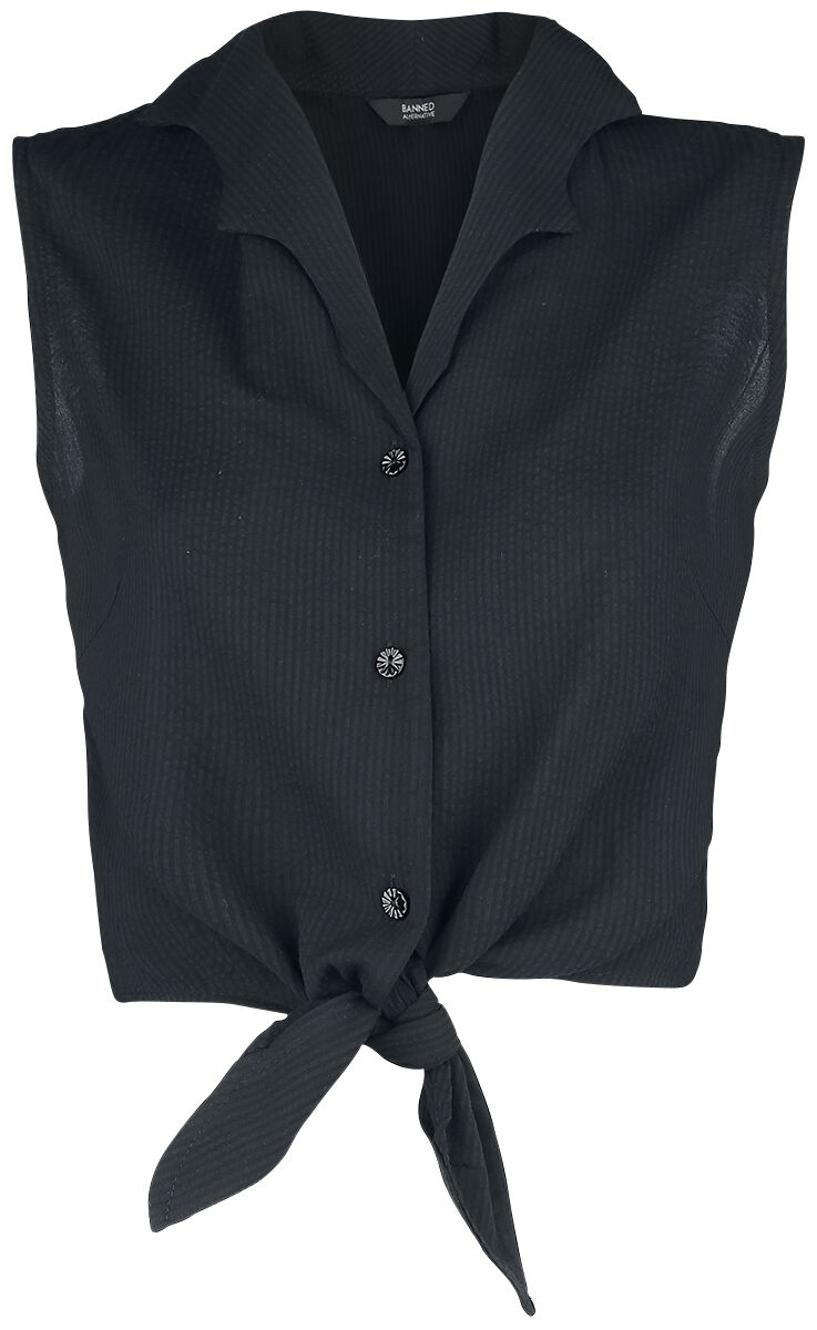 Image of Banned Retro Winged Collar Tie Blouse Bluse schwarz