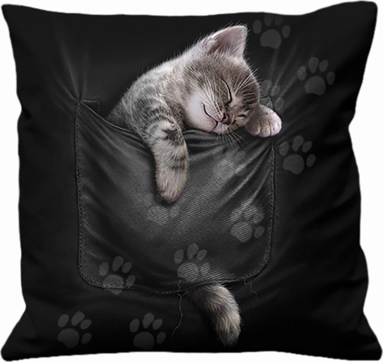 Spiral Pocket Kitten  Kissen  schwarz
