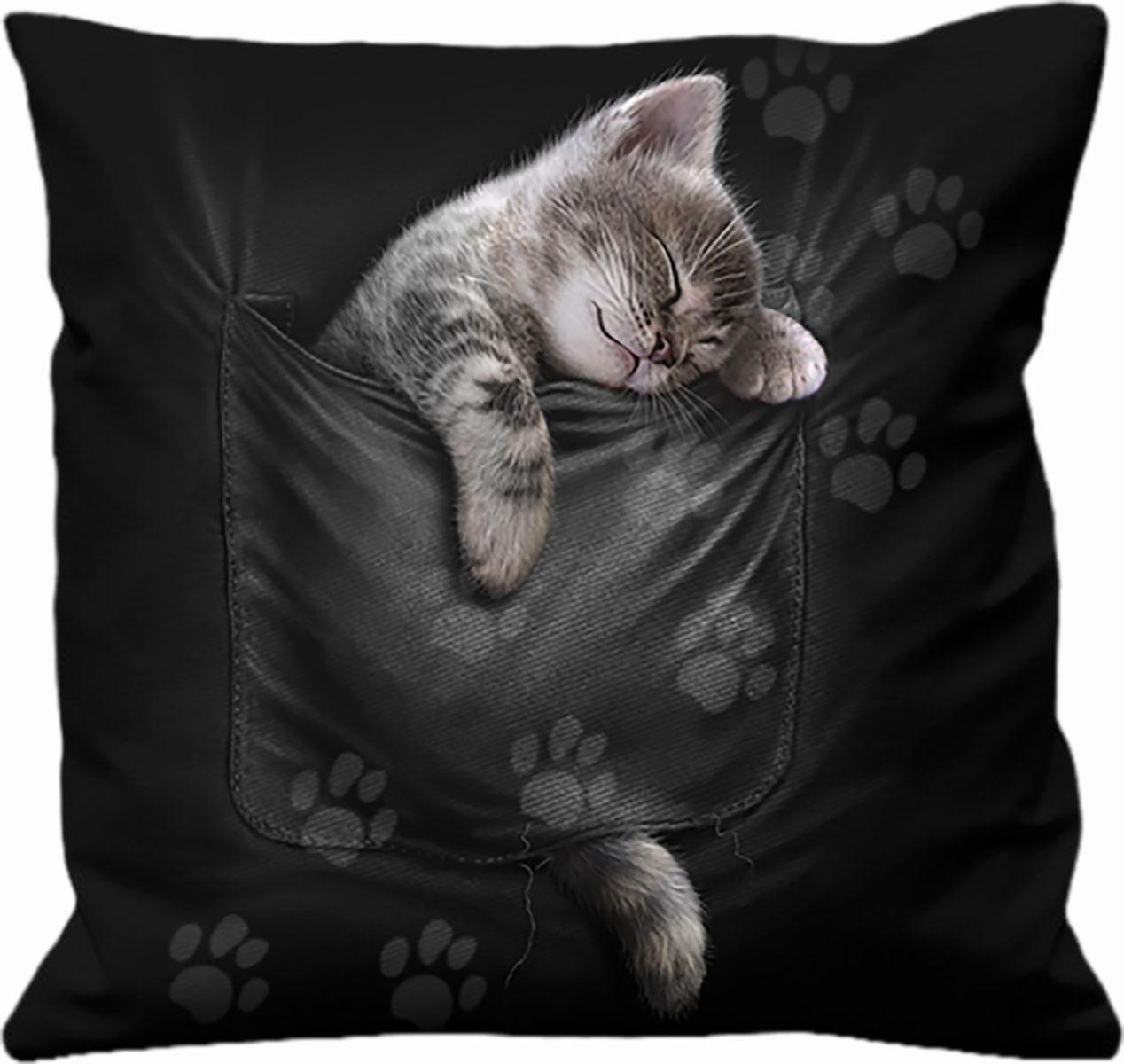 Spiral - Pocket Kitten - Kissen - schwarz
