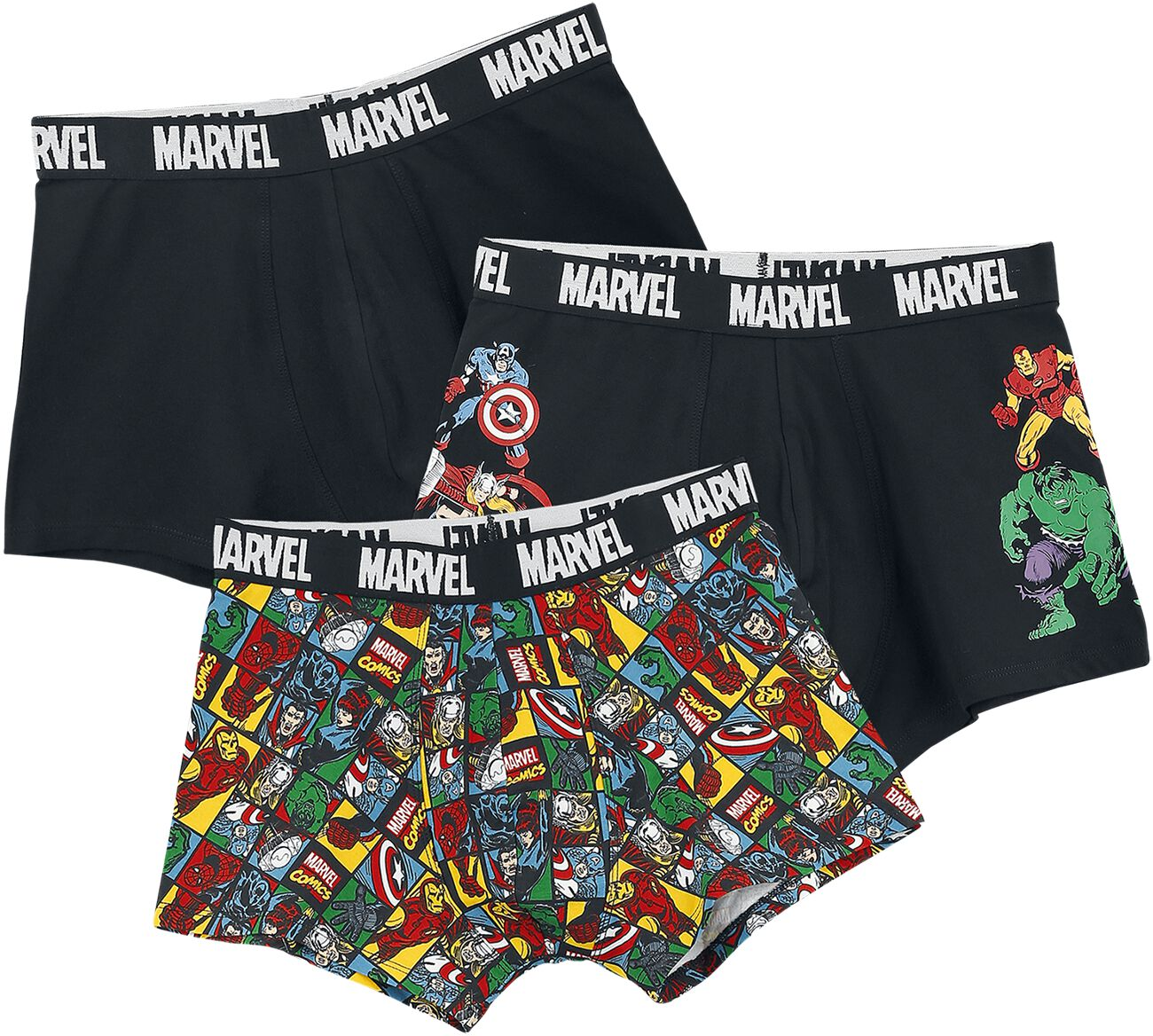 Image of Avengers Marvel Comics Boxershort schwarz