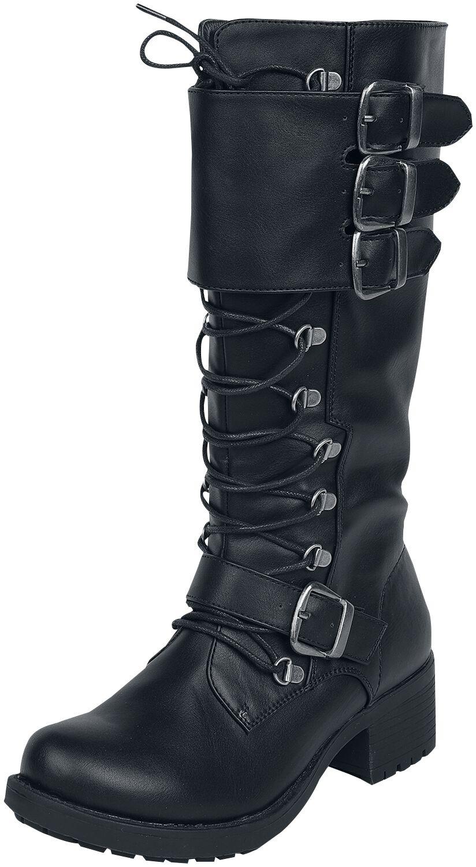 Black Premium by EMP Schwarze Schnürstiefel mit Schnallen Stiefel schwarz M396136