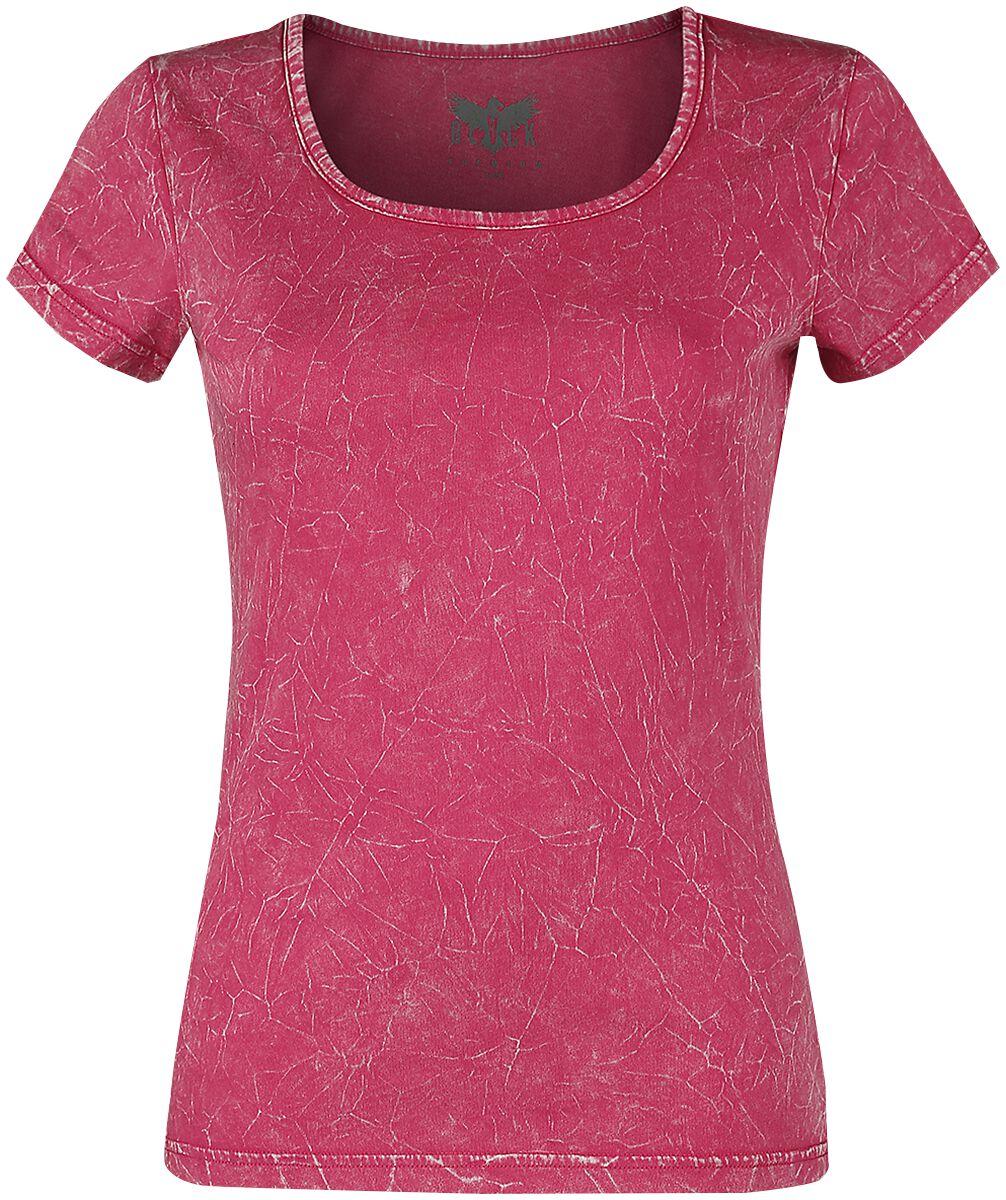 Black Premium by EMP Pinkes T-Shirt mit Crinkle Waschung T-Shirt pink M393766