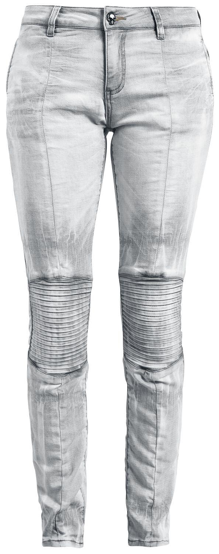 Rock Rebel by EMP Hellgraue Jeans mit Bikernähten Jeans grau M397346