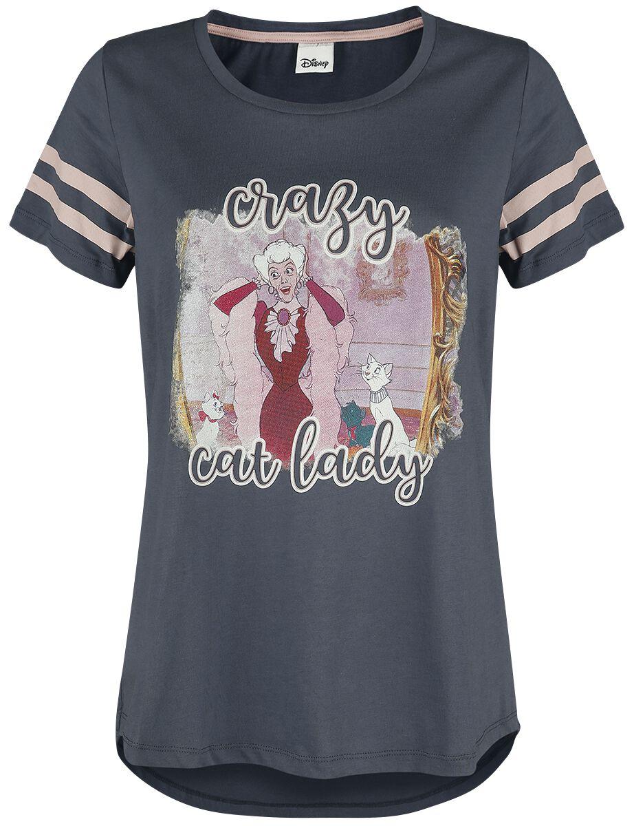 Image of Aristocats Crazy Cat Lady Girl-Shirt schwarz