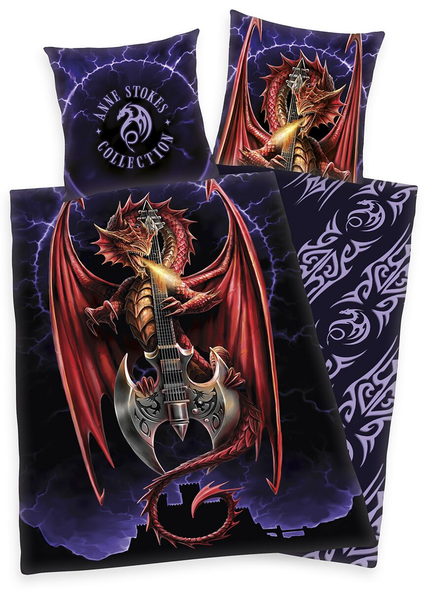 Image of Anne Stokes Dragon and Guitar Bettwäsche allover