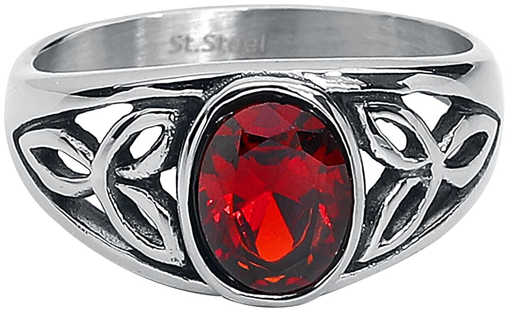etNox Roter Kristall Ring silberfarben SR1191