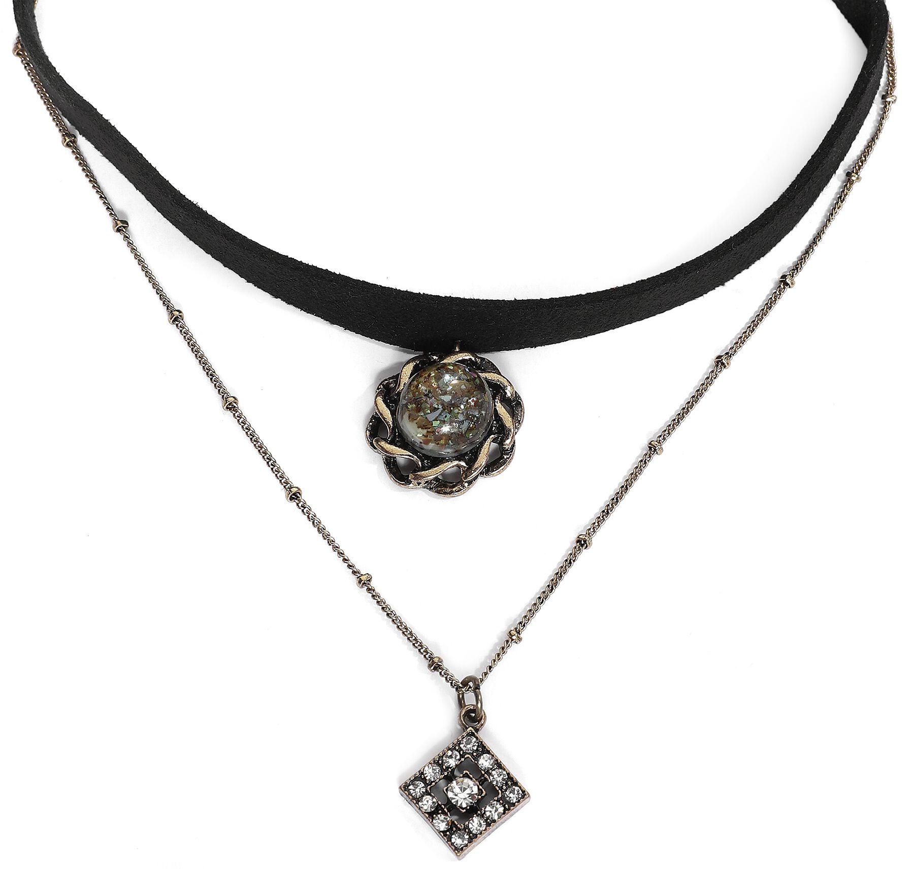 Image of Antikblume Halsband schwarz/goldfarben