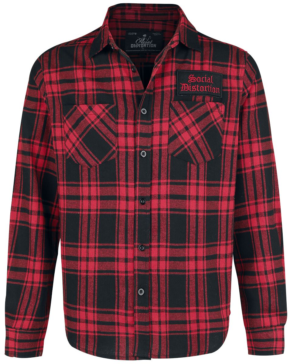 Social Distortion EMP Signature Collection Flanel Shirt red black