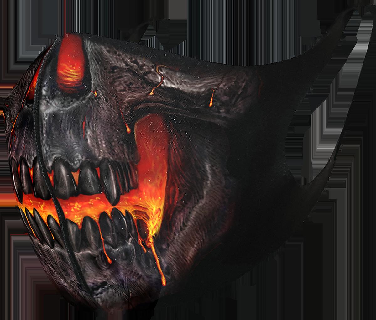 Spiral - Skull Lava - Mundbedeckung - schwarz