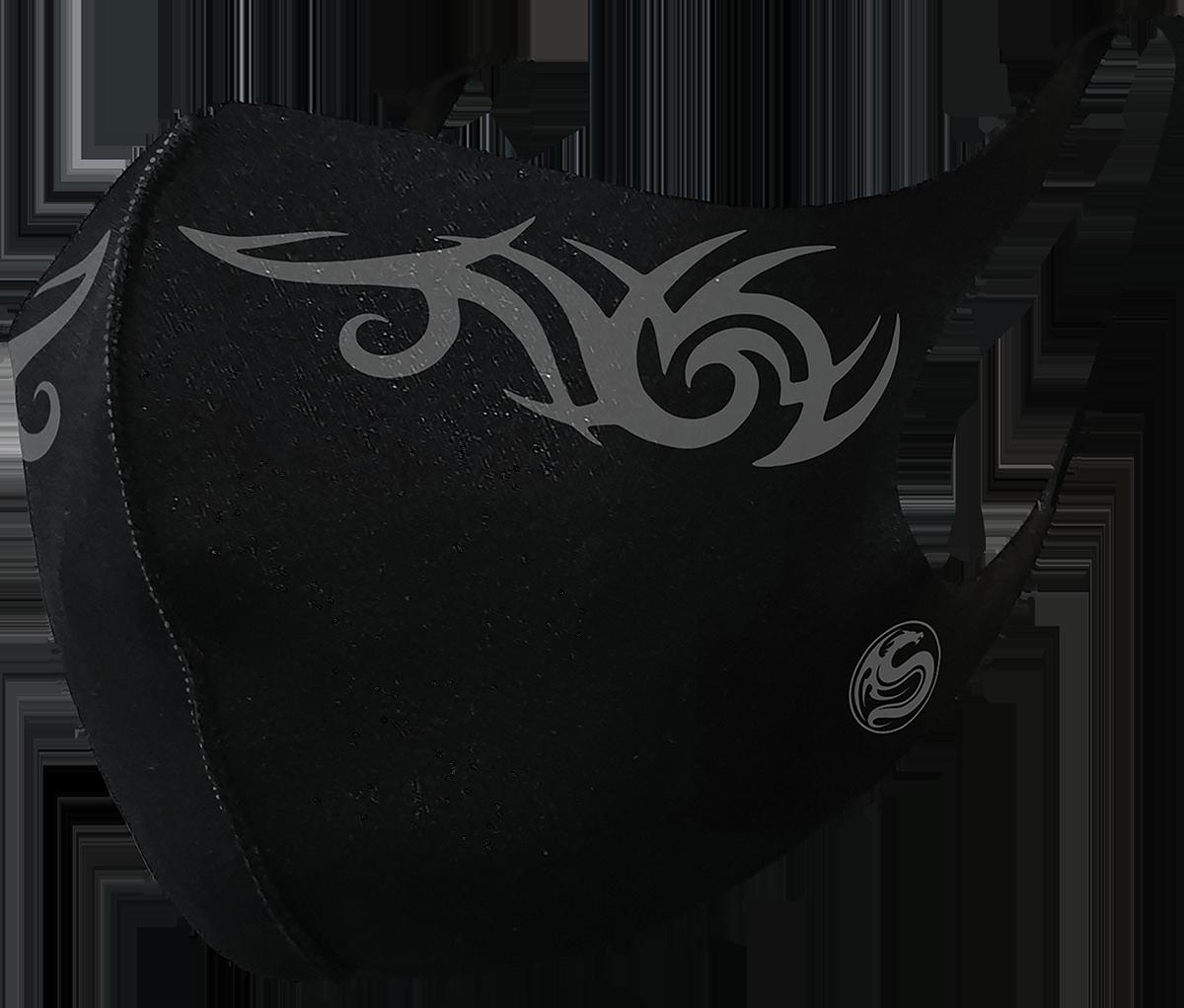 Spiral - Tribal Mundbedeckung  - Mundbedeckung - schwarz