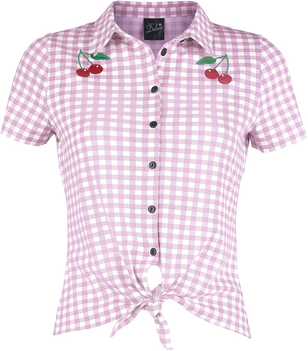 Pussy Deluxe Plaid Short Girl Blouse Bluse rosa weiß powered by EMP