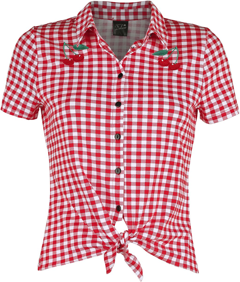 Pussy Deluxe Plaid Short Girl Blouse Bluse rot weiß powered by EMP