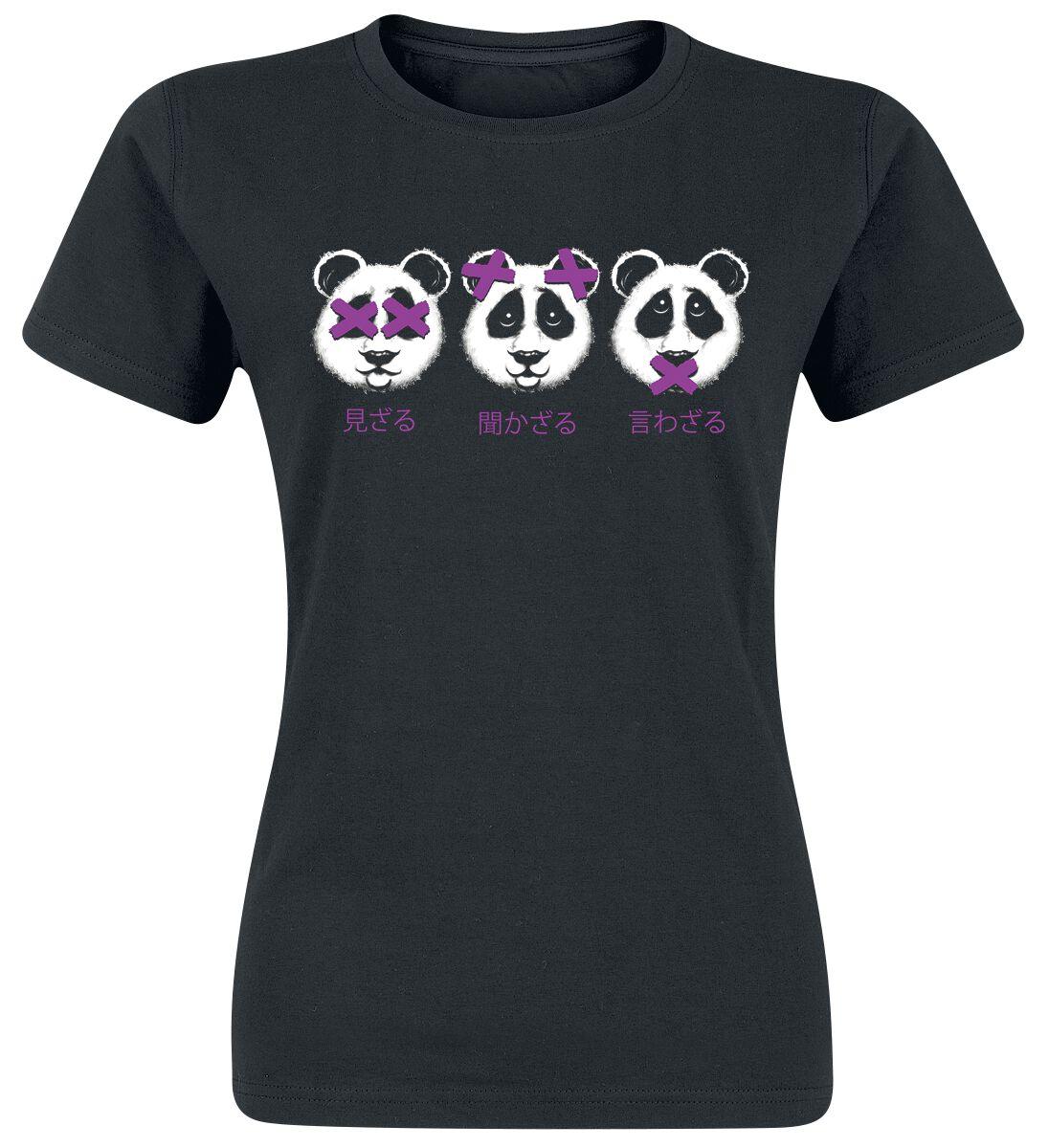 Image of 3 Panda Girl-Shirt schwarz