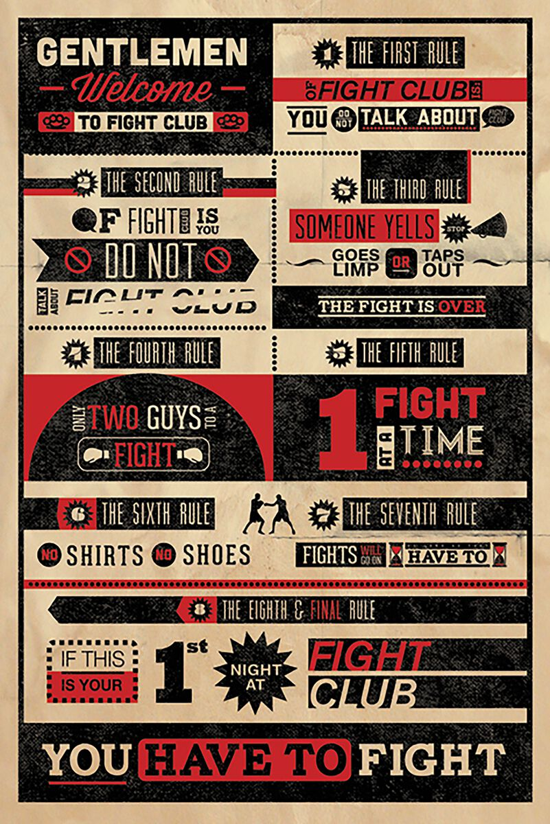 Fight Club Rules Infographic Poster multicolor PP32912