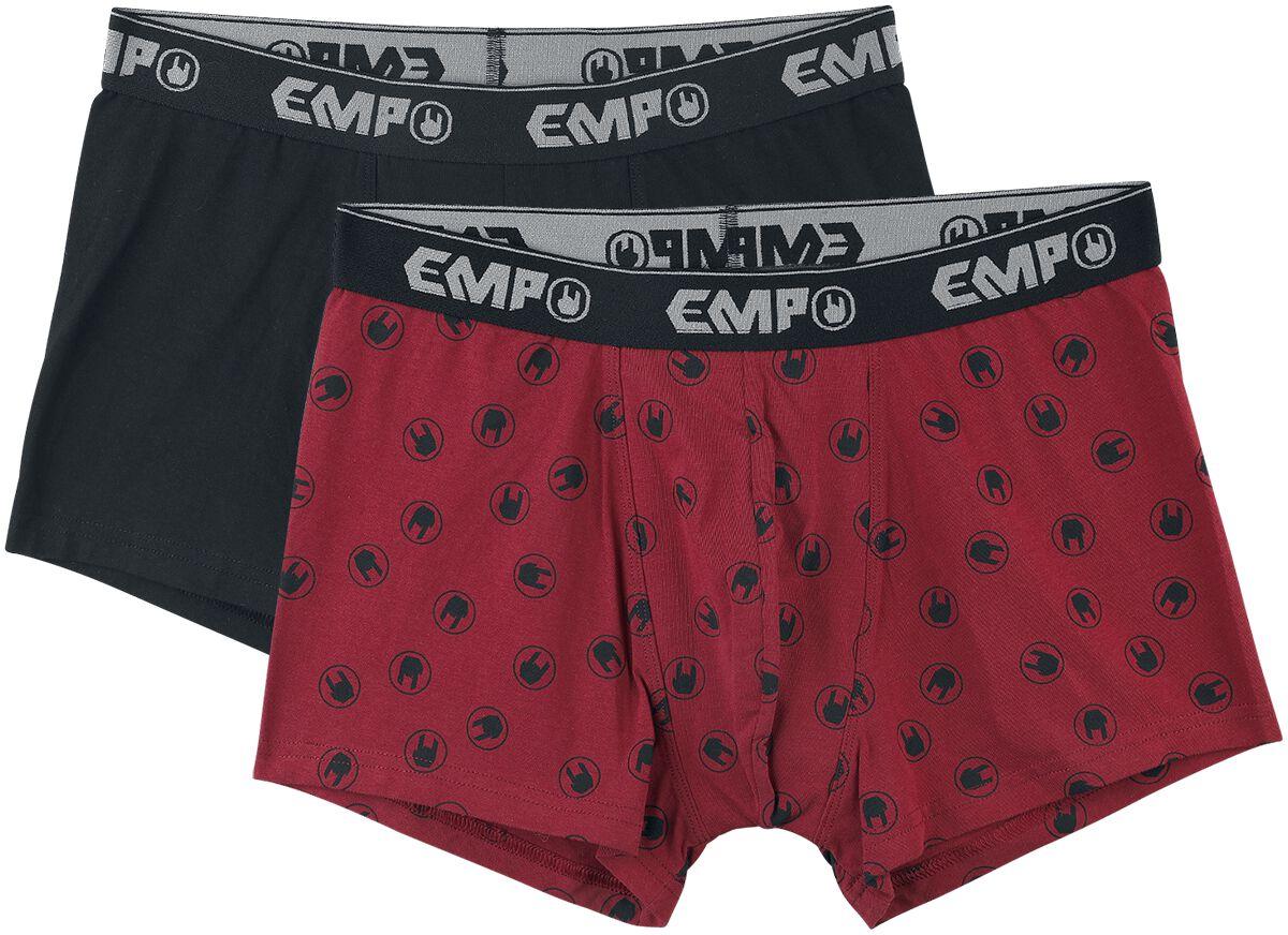Image of EMP Basic Collection Doppelpack Boxershorts Boxershort schwarz/rot
