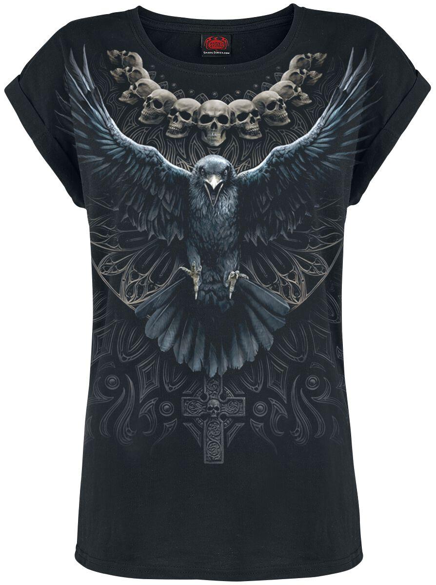 Spiral Raven Skull T-Shirt black