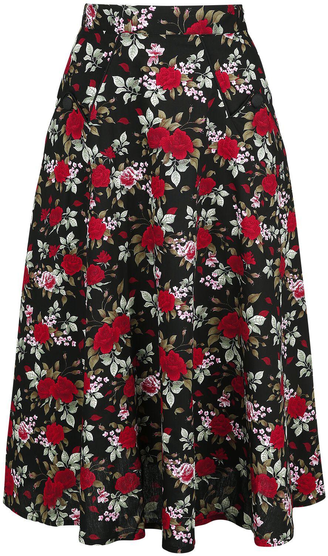 Banned Retro Rose Garden Skirt  Mittellanger Rock  multicolor