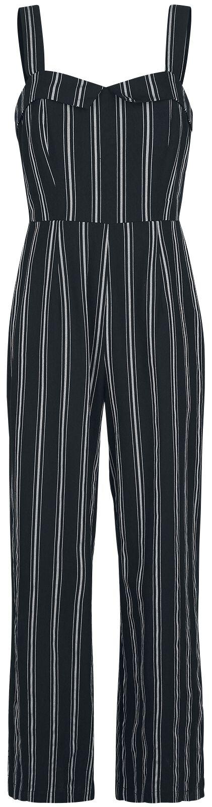 Banned Retro Sailor Stripe Jumpsuit Jumpsuit schwarz grau PL92028 black