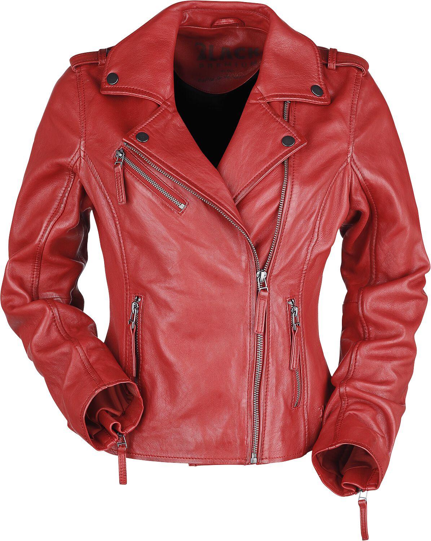 Black Premium by EMP Rote Biker Lederjacke Lederjacke rot M0013541