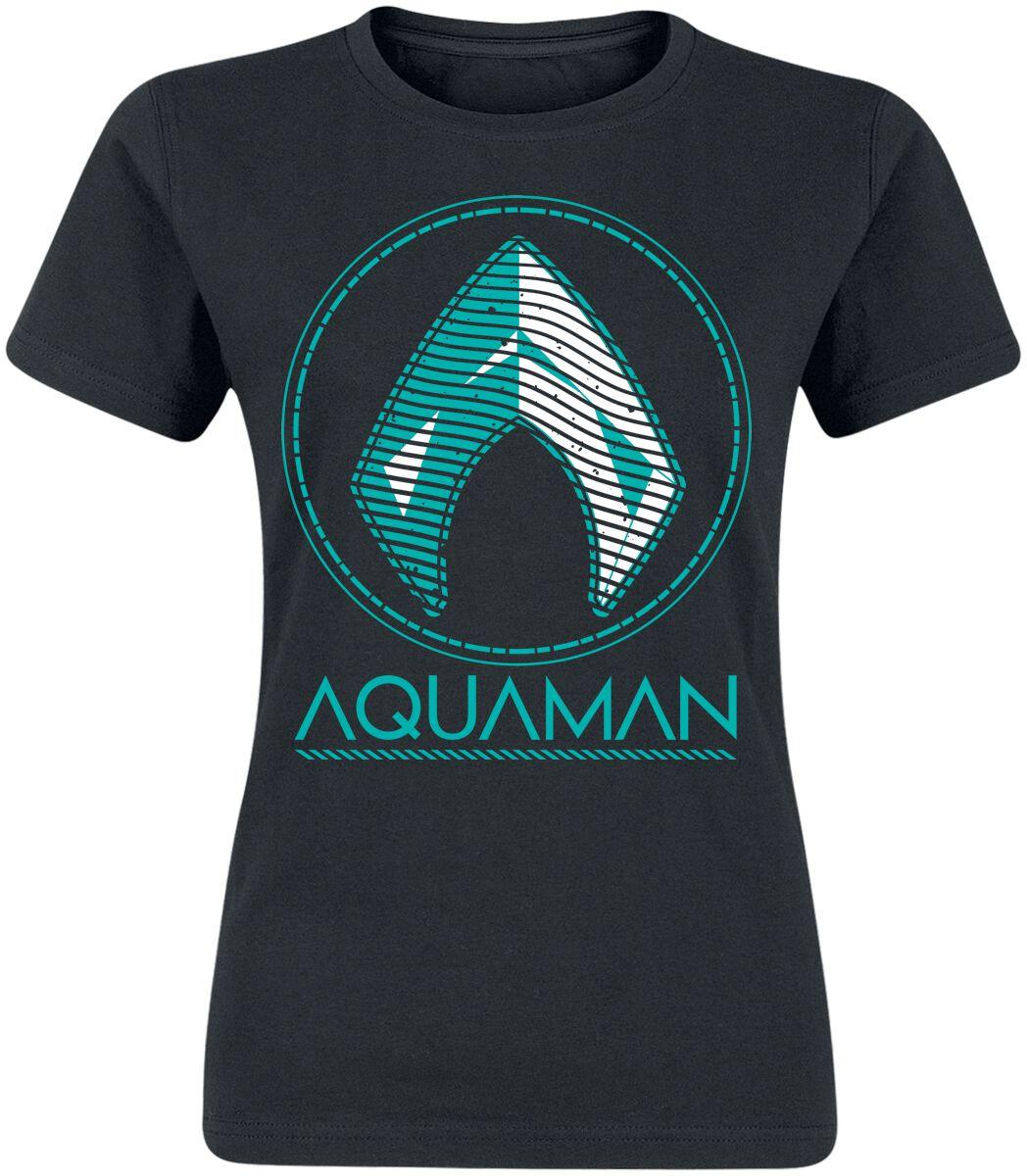 Image of Aquaman Distressed Shield Girl-Shirt schwarz