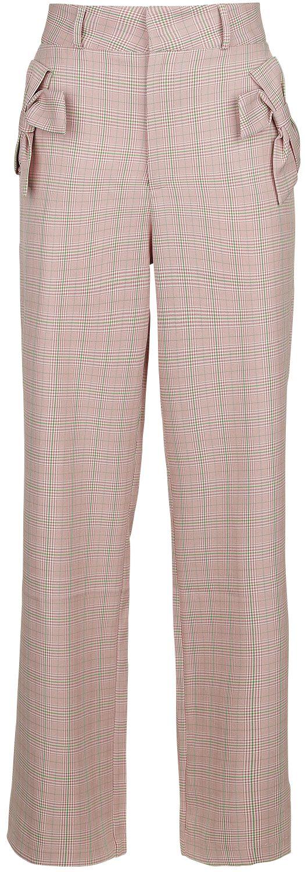 Voodoo Vixen Tammy Bow Pocket Plaid Trouser Stoffhose rosa TRA 4772
