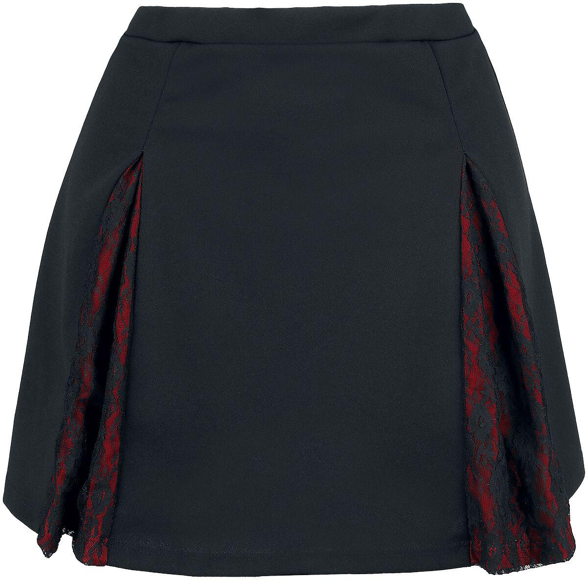 Outer Vision Skirt Margarita Kurzer Rock schwarz rot 10633-OV Woman's Skirt Margarita solid black