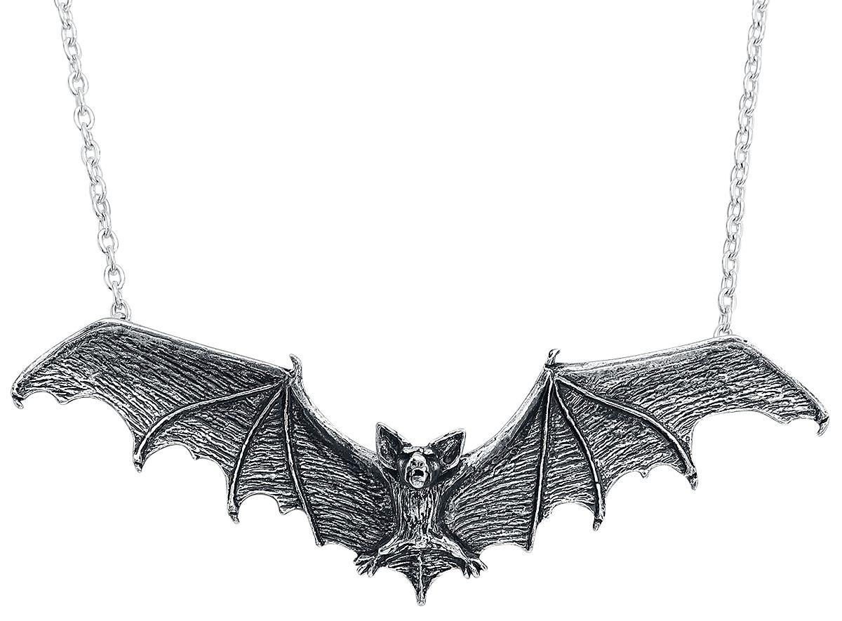 Alchemy Gothic Gothic Bat Pendant Halskette silberfarben P121
